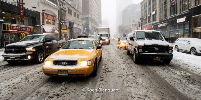 The first part of Juno brought a first load of snow over New York City. (Image Koen Blanquart)