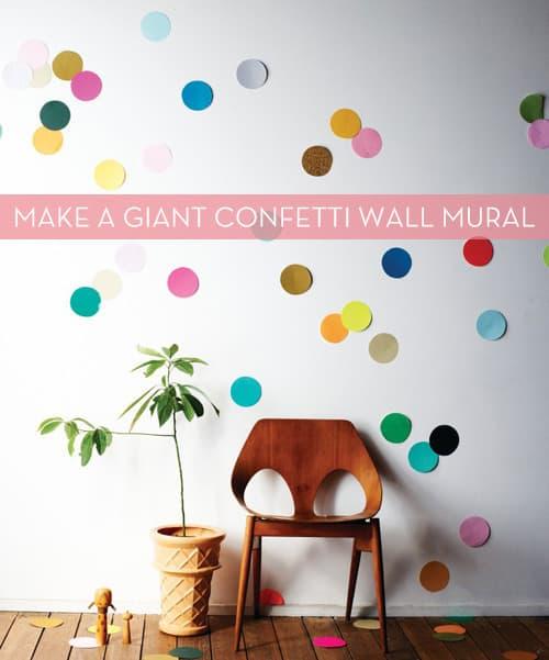 DIY confetti wall mural