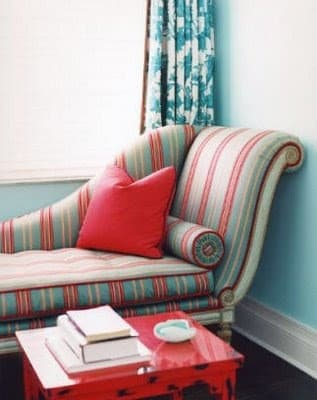 Red and Turquoise Chaise Lounge