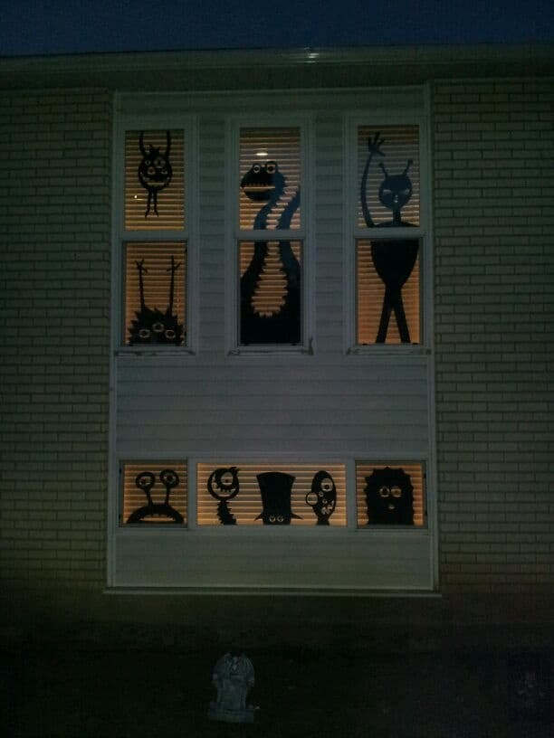 Monster Halloween silhouettes