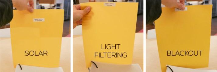Blinds.com Compare fabric opacity