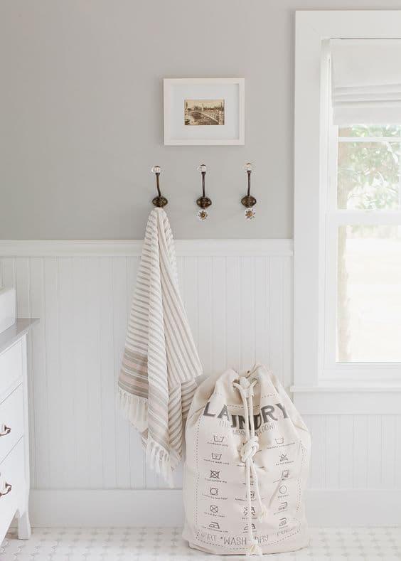 neutral laundry room grey walls