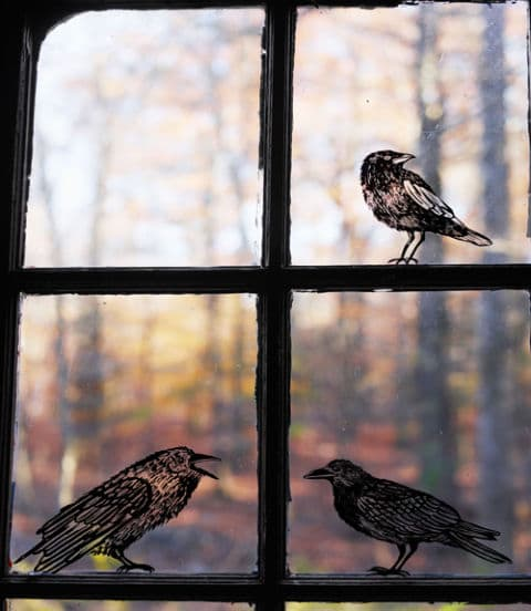 crow window clings halloween