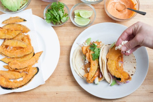 Tempura Acorn Squash Tacos