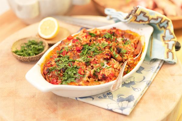 Baked Orzo Casserole with Chorizo & Mozzarella