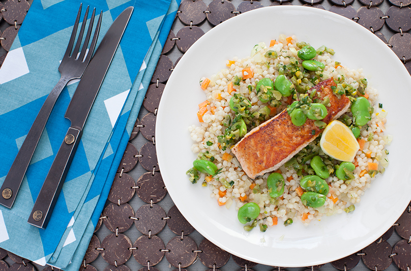 Pan-Seared Salmon with Whole Wheat Cous Cous & Fava Bean-Olive Relish