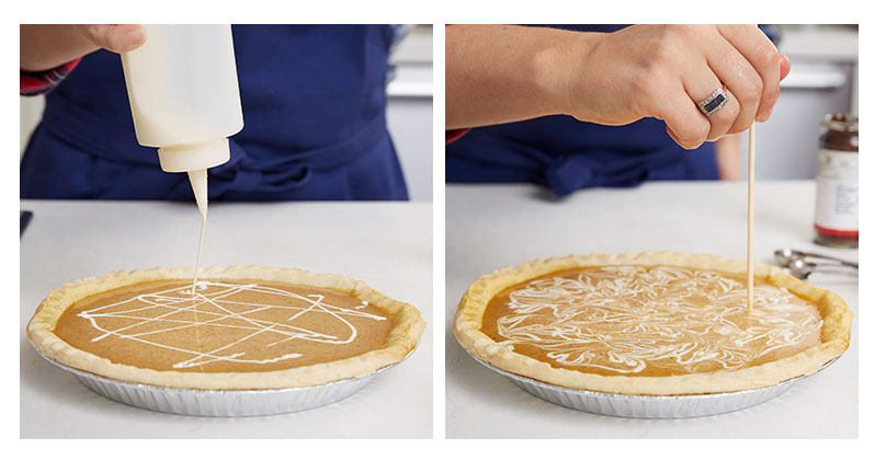 swirl sweetened condensed milk into pumpkin pie