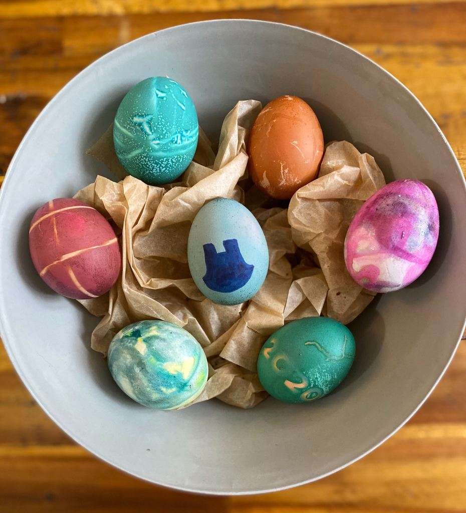 Ice-dyed and tie-dyed Easter eggs