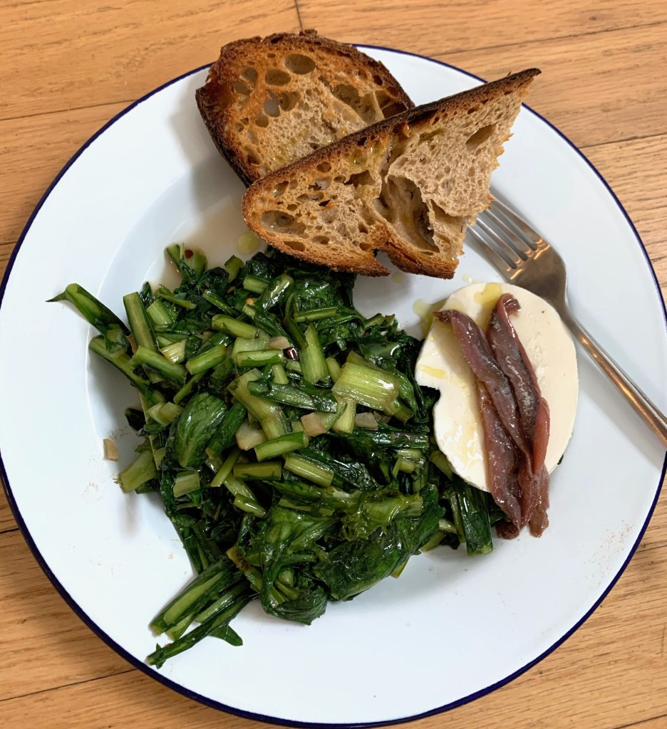 Braised greens with anchovy