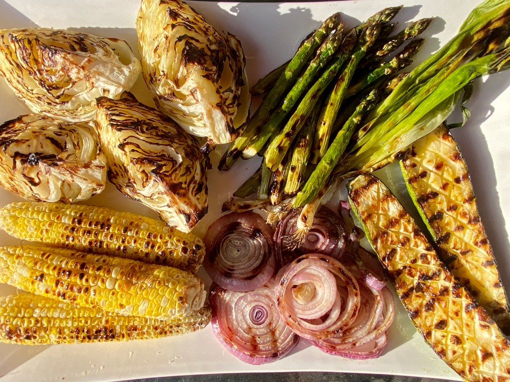 grilled corn and grilled onions