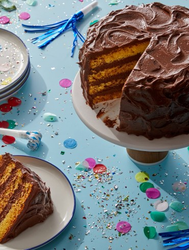 Classic Yellow Cake with Chocolate Buttercream Frosting