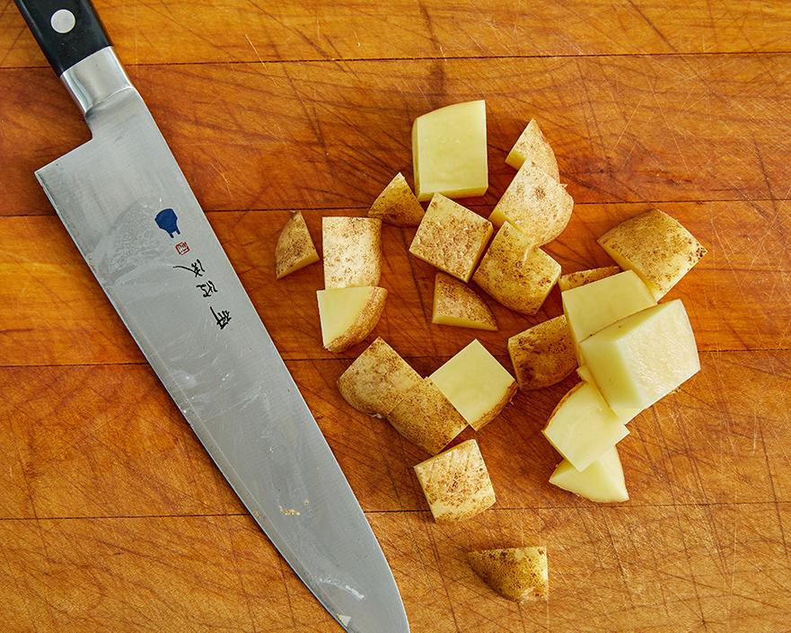 large diced potato