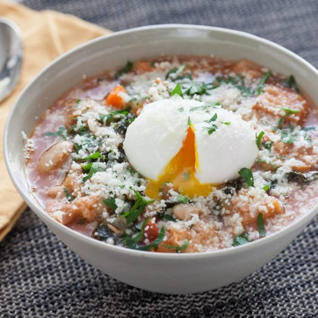 Ribollita soup with stale bread