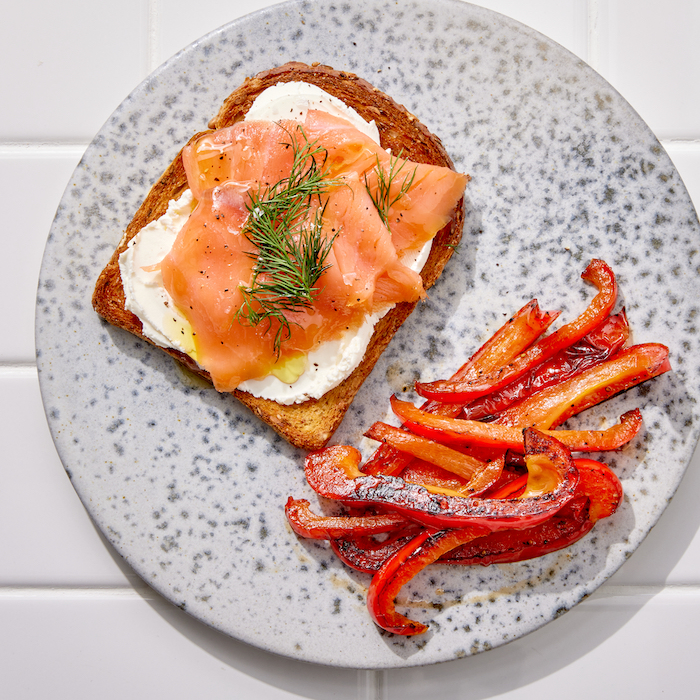 healthy salmon on multigrain toast for breakfast