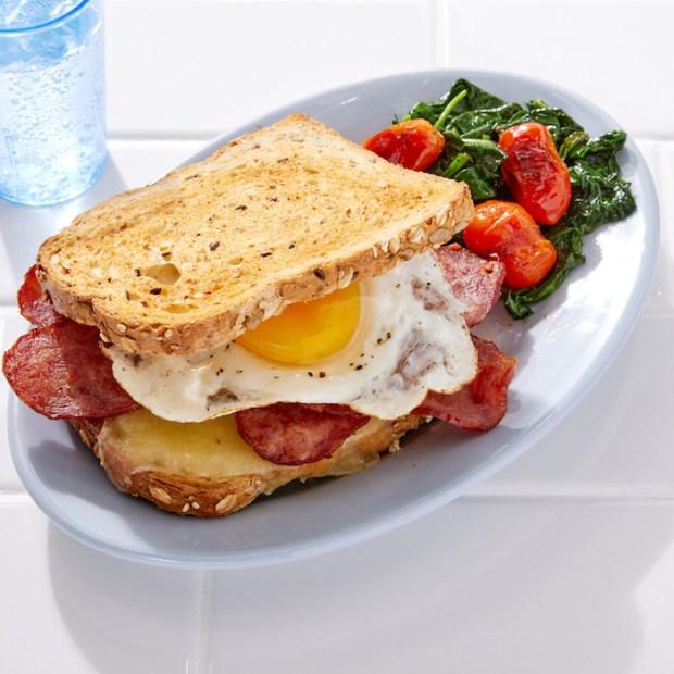 Turkey Bacon Egg and Cheese healthy breakfast sandwich