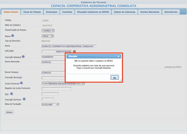 Mensagem de erro ao buscar por CNPJ um fornecedor com mais de uma Inscrição Estadual