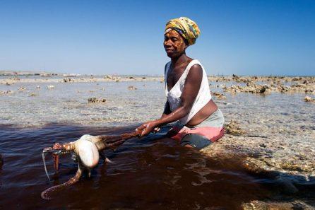 A Vezo woman fishing for octopus | Photo Garth Cripps