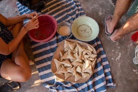 Making fish samosas