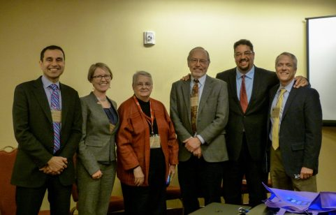 Vik with (LtR) Kristen Patternson from the Population Reference Bureau (PRB), Nancy Harris from John Snow Incorporated (JSI), Bob Engleman from the Worldwatch Institute, Roger-Mark deSouza from the Wilson Centre, Jeff Jordan from PRB.
