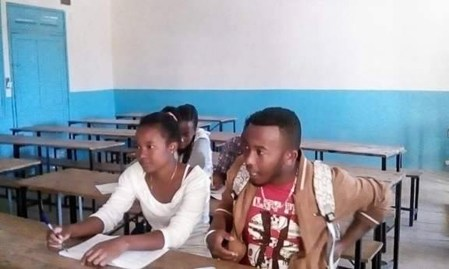 Lucia in class at the University of Toliara
