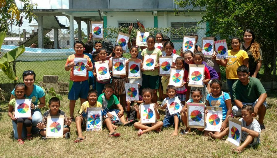 The kids with their colour wheels.