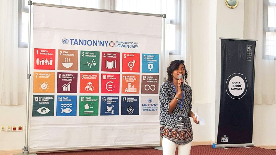 Vatosoa speaking at the UNDP SDG30 Conference