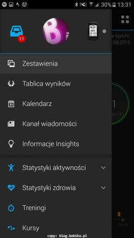Garmin Connect - menu