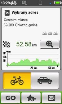 Mio Cyclo 500 - wykres proponowanej trasy np. w Suprise Me