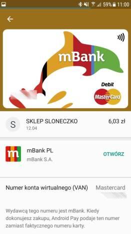 Android Pay - moja karta dodana w mbanku