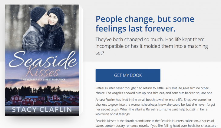 Custom landing page design by BookFunnel for Seaside Kisses by Stacy Claflin
