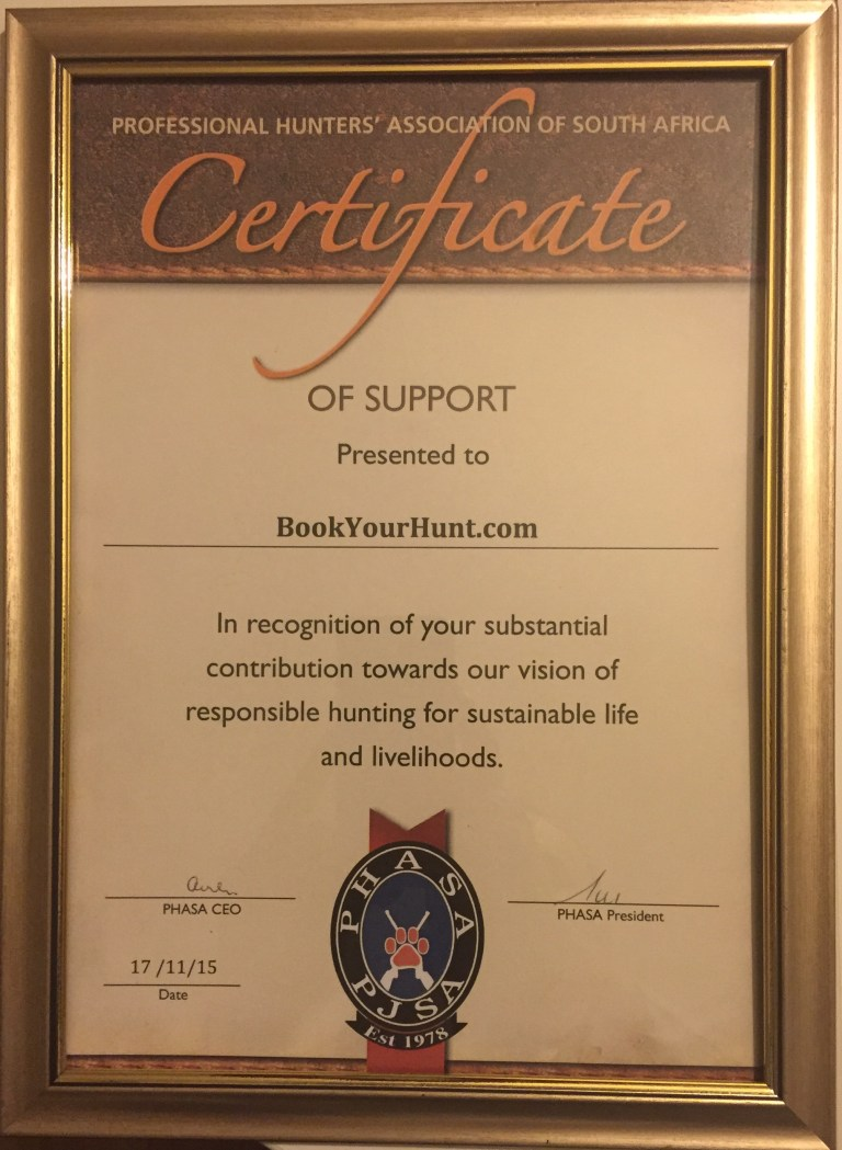 Certificate from PHASA to BookYourHunt