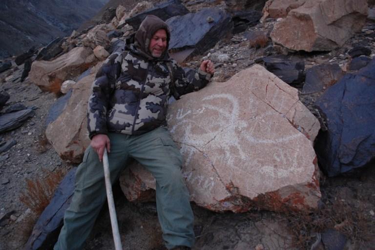 Rock painting of an Ibex in Tajikistan