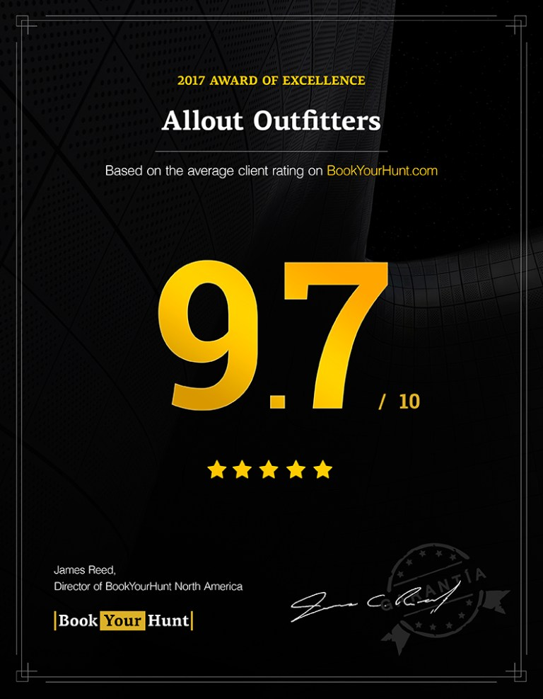 Allout Outfitter BookYourHunt consumer rating 9.7/10