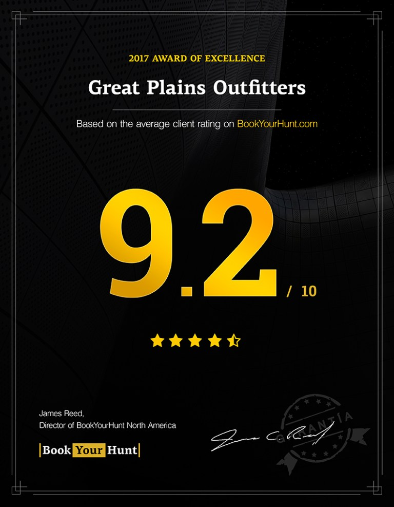 Great Plains Outfitters 9.2/10 consumer rating on BookYourHunt.com