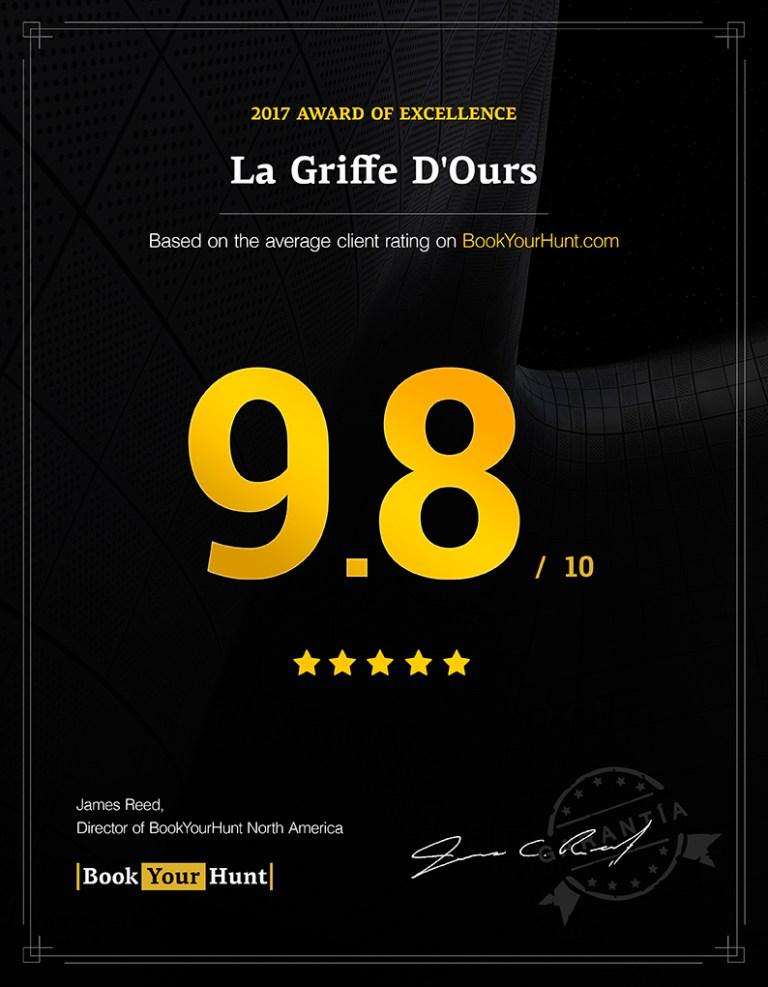 La Griffe D'Ours 9.8/10 consumer rating on BookYourHunt.com