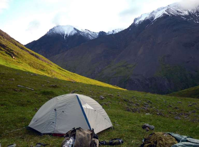 A sheep hunter's tent camp in Alaska