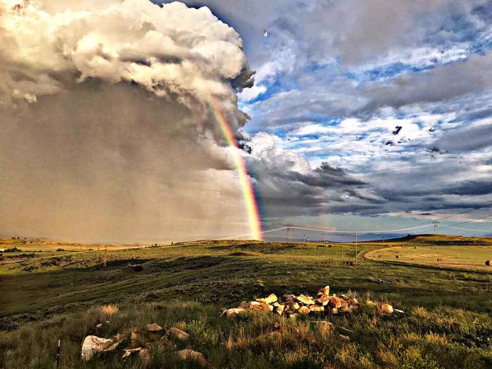 clouds, rainbow and wide open spaces of Wyoming