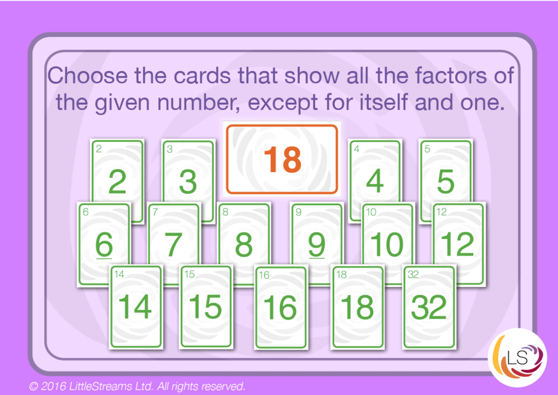 Find the factors for a given number task cards.