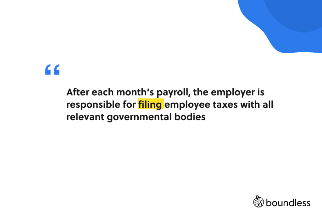 filing taxes on behalf of employees needs to happen every month
