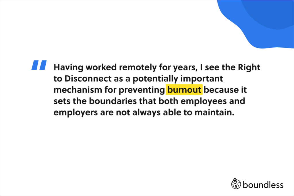 right to disconnect is an antidote to burnout when working remotely