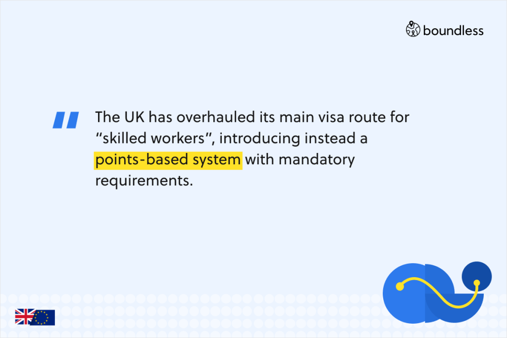 """The UK has overhauled its main visa route for """"skilled workers"""", introducing instead a points-based system with mandatory requirements."""