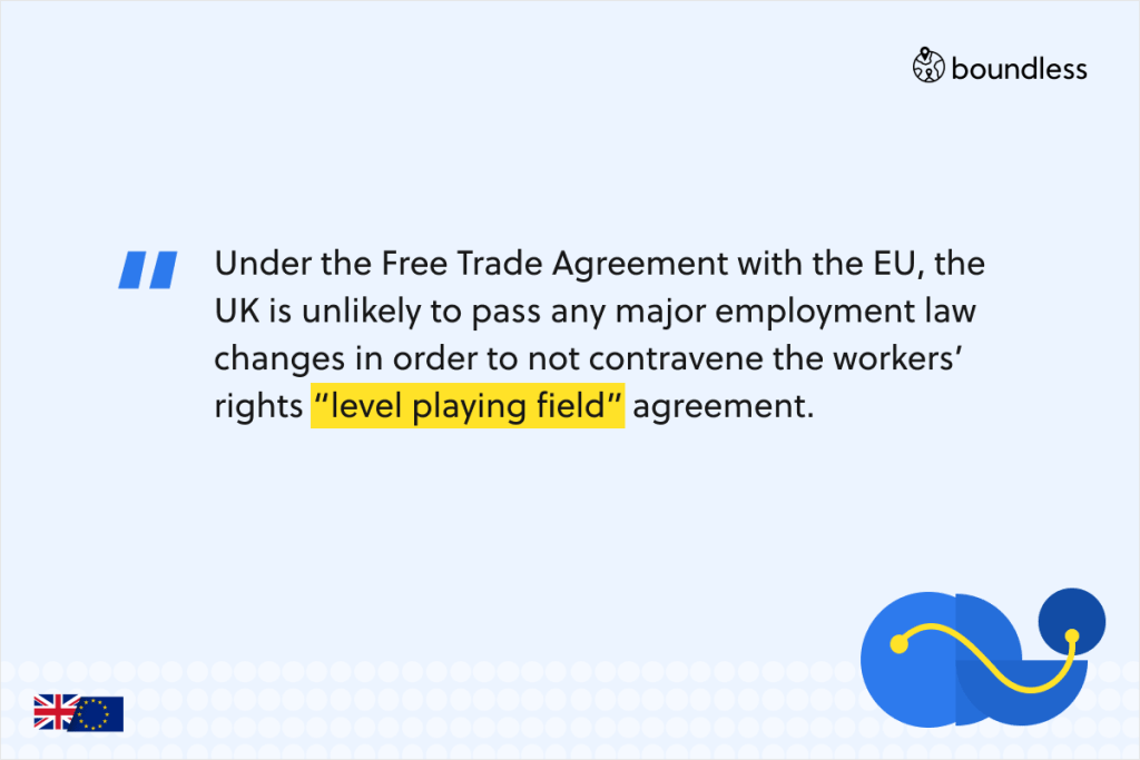 """Under the Free Trade Agreement with the EU, the UK is unlikely to pass any major employment law changes in order to not contravene the workers' rights """"level playing field"""" agreement."""