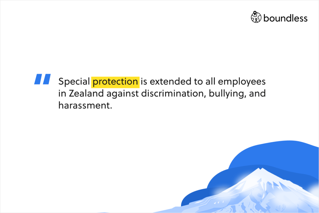 Special protection is extended to all employees in Zealand against discrimination, bullying, and harassment.