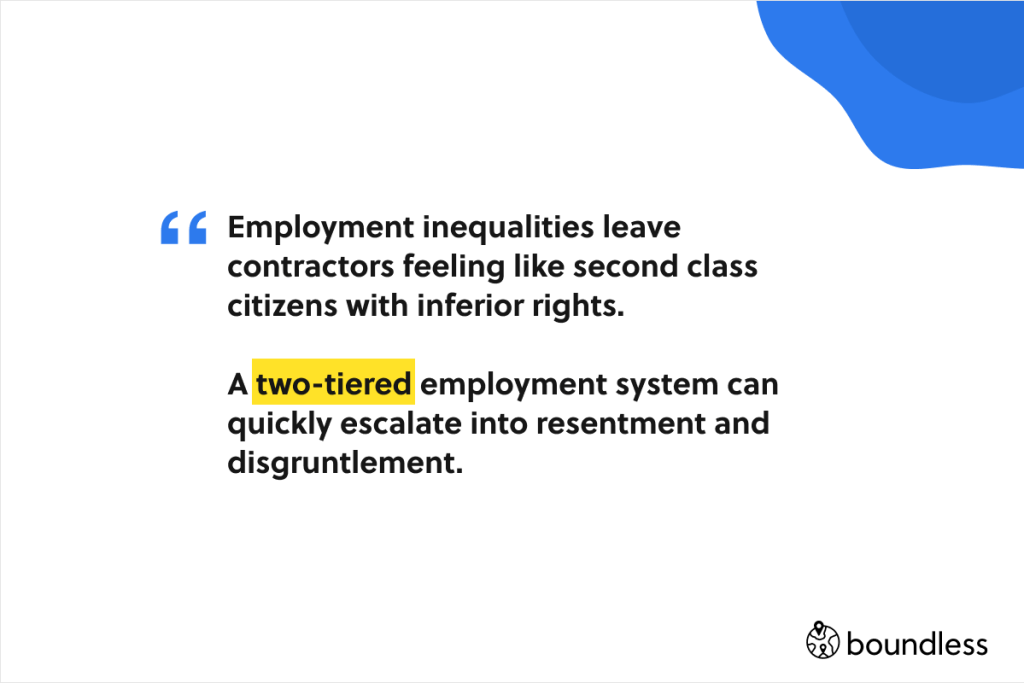 employment inequalities leave into contractors feeling like second class citizens