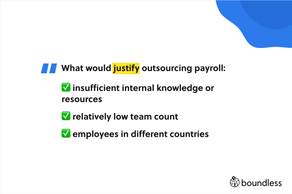 justify outsourcing payroll