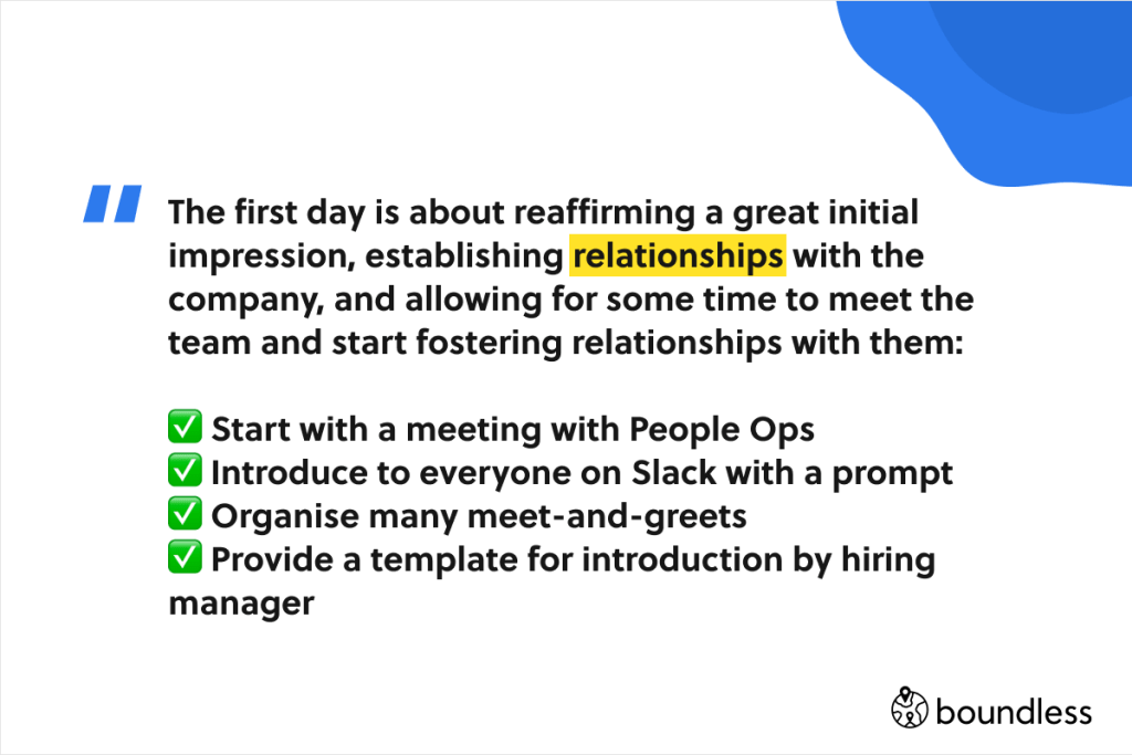 what happens on the first day as part of employee onboarding