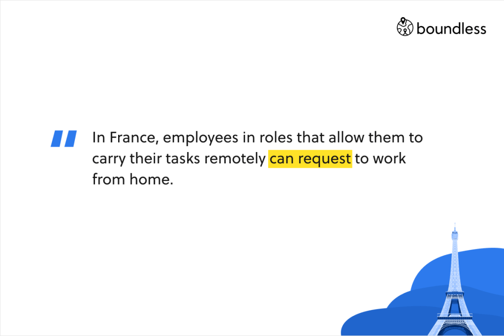 In France, employees in roles that allow them to carry their tasks remotely can request to work from home.