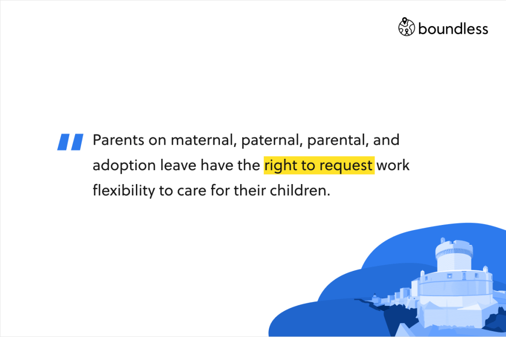 Parents on maternal, paternal, parental, and adoption leave have the right to request work flexibility to care for their children.