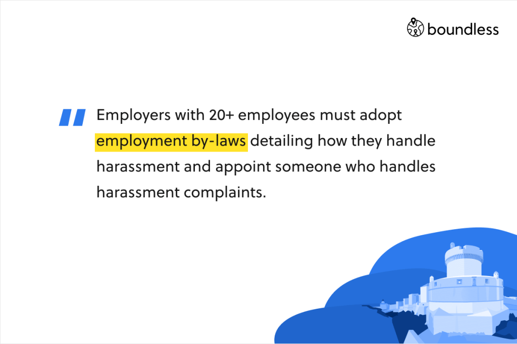 Employers with 20+ employees must adopt employment by-laws detailing how they handle harassment and appoint someone who handles harassment complaints.