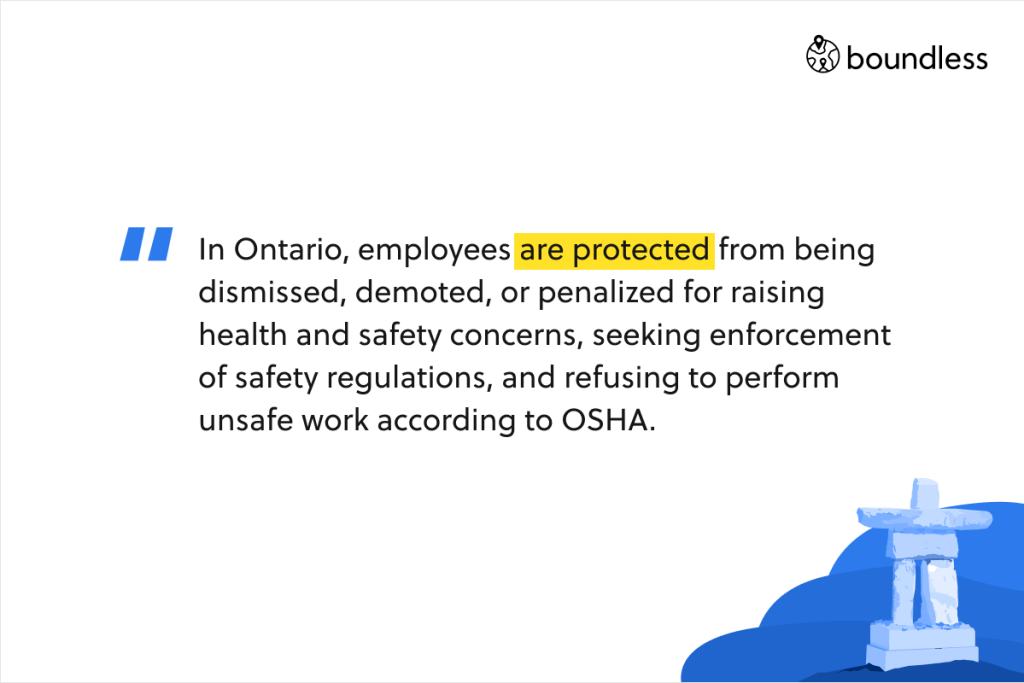 In Ontario, employees are protected from being dismissed, demoted, or penalized for raising health and safety concerns, seeking enforcement of safety regulations, and refusing to perform unsafe work according to OSHA.